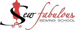 Sew Fabulous logo red and black script type with dress form