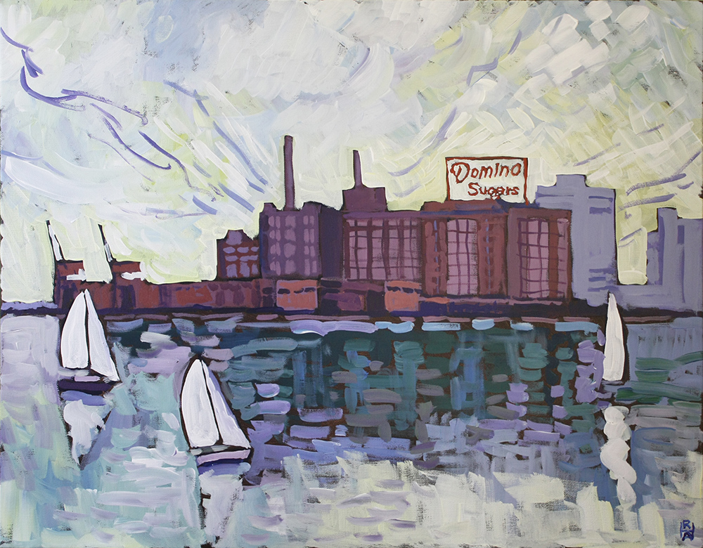 painting by Robert Hofherr of Baltimore Harbor and Domino Sugar plant