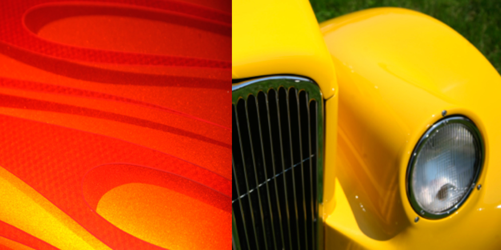 images of antique car surfaces, yellow front headlight and grill, detail image of orange and red flame painting