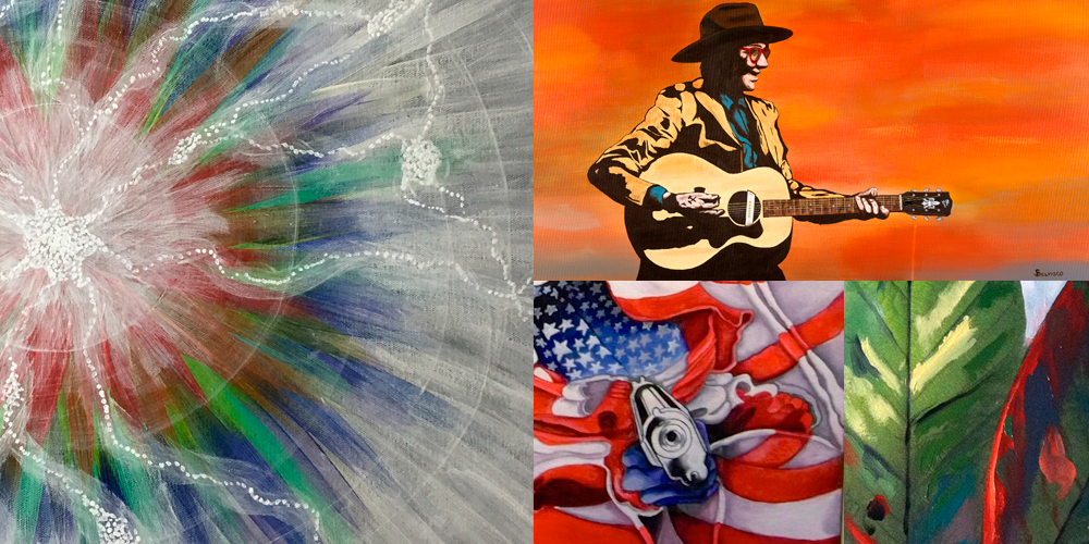 collage of artwork by artists participating in the exhibition Reflections on Color