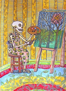 skeleton painting at an easel