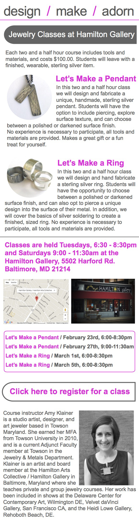promotional brochure for jewelry classes at Hamilton Gallery